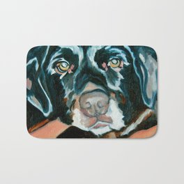 Daisy the Black Lab Dog Portrait Bath Mat