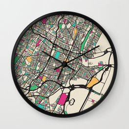 Colorful City Maps: Newark, New Jersey Wall Clock