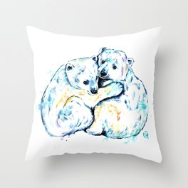 Polar Bear Brothers - Watercolor Painting Throw Pillow