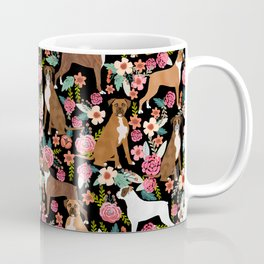Boxer floral dog breed gifts for boxer lovers pet florals boxers must haves Coffee Mug