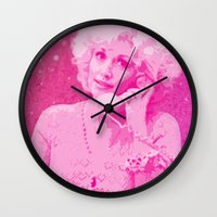 dolly parton Wall Clocks featuring Dolly Parton by D Arnold Designs