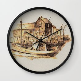 Moored at the Fish House Wall Clock