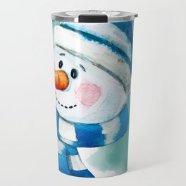 Blue Snowman 02 Travel Mug