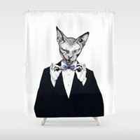sphynx Shower Curtains featuring Sphynx 007 by Psyca