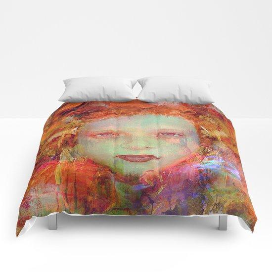Autumnal girl Comforters