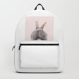 Bunny Tail, Grey Rabbit With Pink Background, Baby Animals Art Print By Synplus Backpack