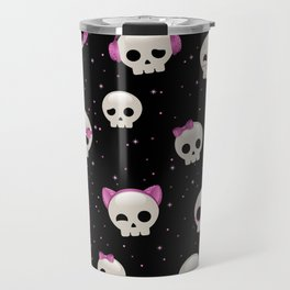 Cute Skulls with Pink Accessories Travel Mug