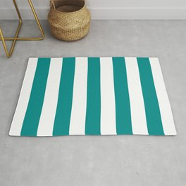 Dark cyan - solid color - white stripes pattern Rug