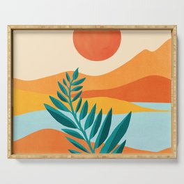 Mountain Sunset / Abstract Landscape Illustration Serving Tray