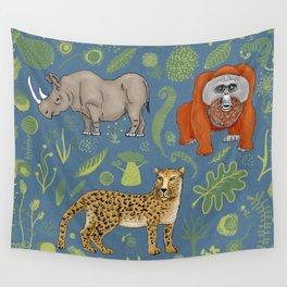 endangered animals, black rhino, amur leopard, bornean orangutan Wall Tapestry