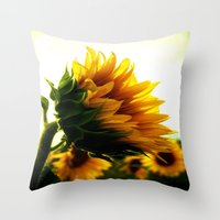 sunflower Throw Pillows featuring Sunflower by 2sweet4words Designs