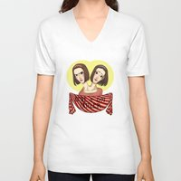 ahs V-neck T-shirts featuring AHS Twins by Raygor