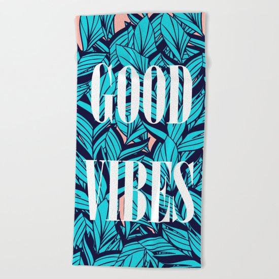 Good Vibes Blue Leaves Beach Towel