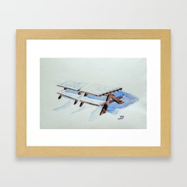 Snow on Benches II Framed Art Print