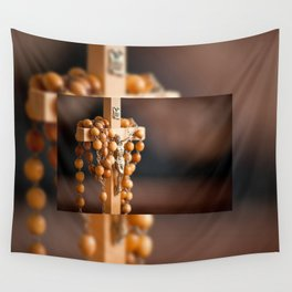 Jesus figurine and rosary Wall Tapestry