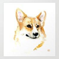 corgi Art Prints featuring Corgi by Elise Lesueur