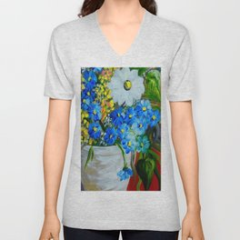 Flowers in a White Vase Unisex V-Neck