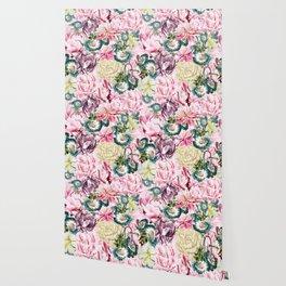 Vintage & Shabby chic -  Retro Spring Flower Pattern Wallpaper