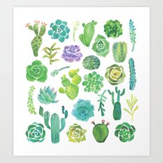Watercolor cactus and succulent Art Print