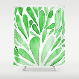 Watercolor artistic drops - green Shower Curtain