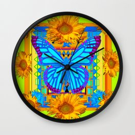 Lime Sunflower Blue Butterfly Floral Wall Clock