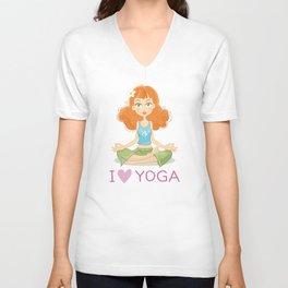 Cute Yoga Girl Sitting in Lotus Pose Unisex V-Neck