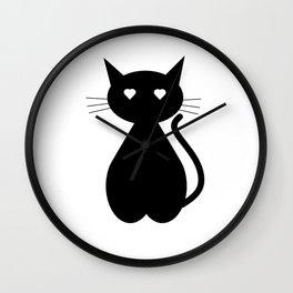 Cute Black Kitty Wall Clock