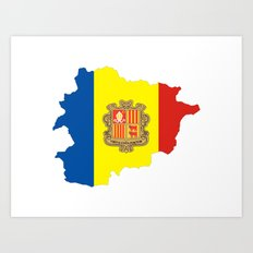 Andorra flag map Art Print