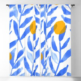 Tropical Lemons / Blue and Yellow Refreshing Lemon Print / Abstract Lemon Vibes / Summer Lemons Blackout Curtain