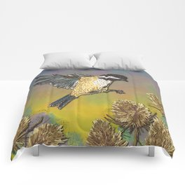 Coal Tit and Teasels Comforters