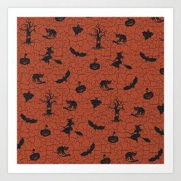 Halloween pattern on crackle orange background Art Print