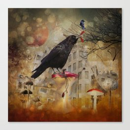 Raven in a City Canvas Print