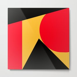 Abstract retro modern print in red black yellow colors Metal Print