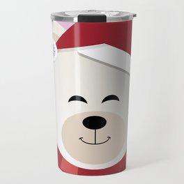 A Similey Christmas Polar Bear Travel Mug