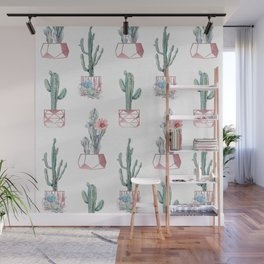 Rose Gold Potted Cactus with Succulents Wall Mural