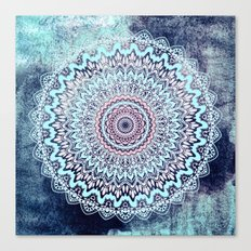 BLUE AUTUMN BOHO MANDALA Canvas Print
