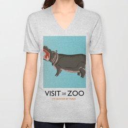 visit the zoo hippopotamus edition Unisex V-Neck