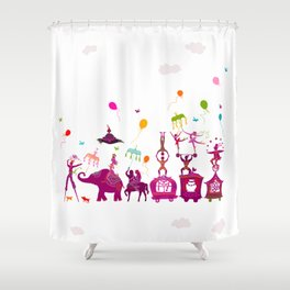 colorful circus carnival traveling in one row on white background Shower Curtain