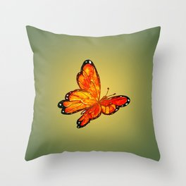Orange Watercolor Butterfly Design Throw Pillow