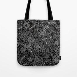 Black Doodle Pattern Tote Bag