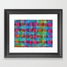 plaid pattern abstract texture in blue pink green yellow Framed Art Print