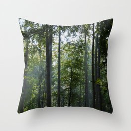 Green forest shrouded the sun. Throw Pillow