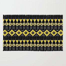 Mudcloth Style 2 in Black and Yellow Rug