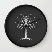 gondor Wall Clocks featuring White Tree of Gondor by Nxolab