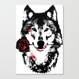 Wolf blood stained, holding a red rose. Canvas Print
