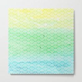 Blue/Green/Yellow Watercolor Seigaiha Pattern Metal Print