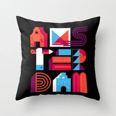 Postcards from Amsterdam / Typography Throw Pillow