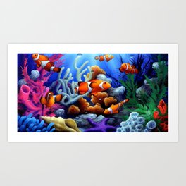 Coral Reef and Clownfish Art Print