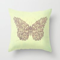butterfly Throw Pillows featuring Butterfly by Mike Koubou