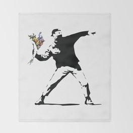 Banksy Flower Thrower Throw Blanket